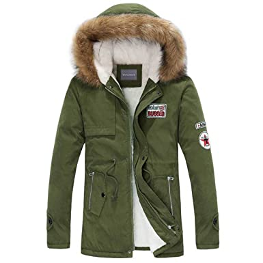 6f297315a4bf3 Henoo Men s Winter Hooded Coat - Mens Thicken Sherpa Lined Parka Outwear Jacket  Black   Army Green at Amazon Men s Clothing store