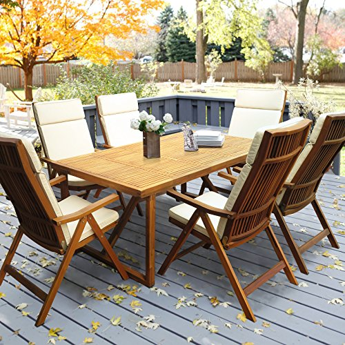 Cushion 5 Position - Interbuild Stockholm 180 cm table with 6 Stockholm 5-position chairs and 6 cushions | Outdoor Patio 7 piece dining set | Folding adjustable arm chair| Golden Teak Finishing