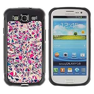 WAWU Funda Carcasa Bumper con Absorci??e Impactos y Anti-Ara??s Espalda Slim Rugged Armor -- shard tile porcelain pink pattern -- Samsung Galaxy S3 I9300