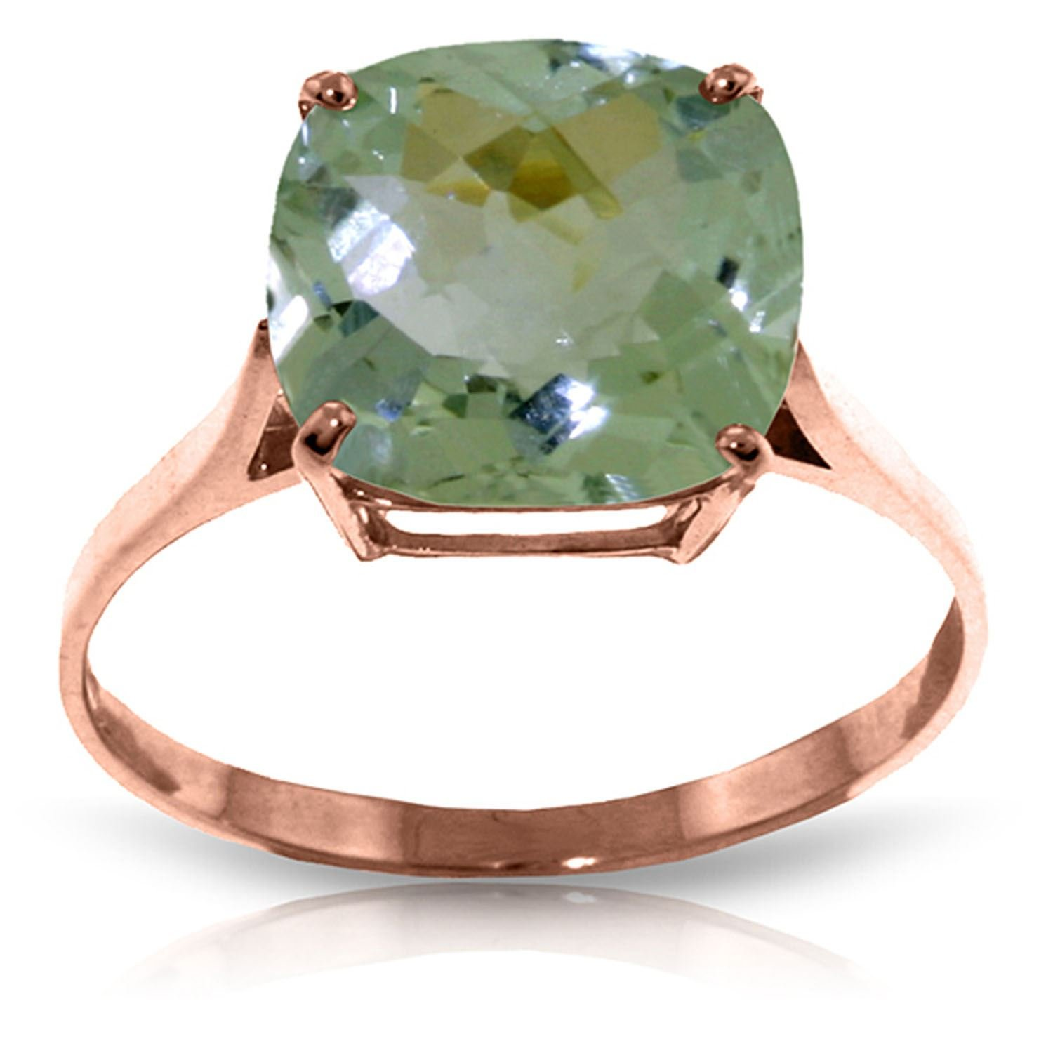 ALARRI 3.6 CTW 14K Solid Rose Gold Spellbound Green Amethyst Ring With Ring Size 5