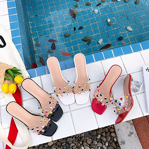 Heeled Slippers Beach T Rivets Dress for Transparent Color JULY Women Chunky Sandals Fashion Comfy Slip Red on 664qZY