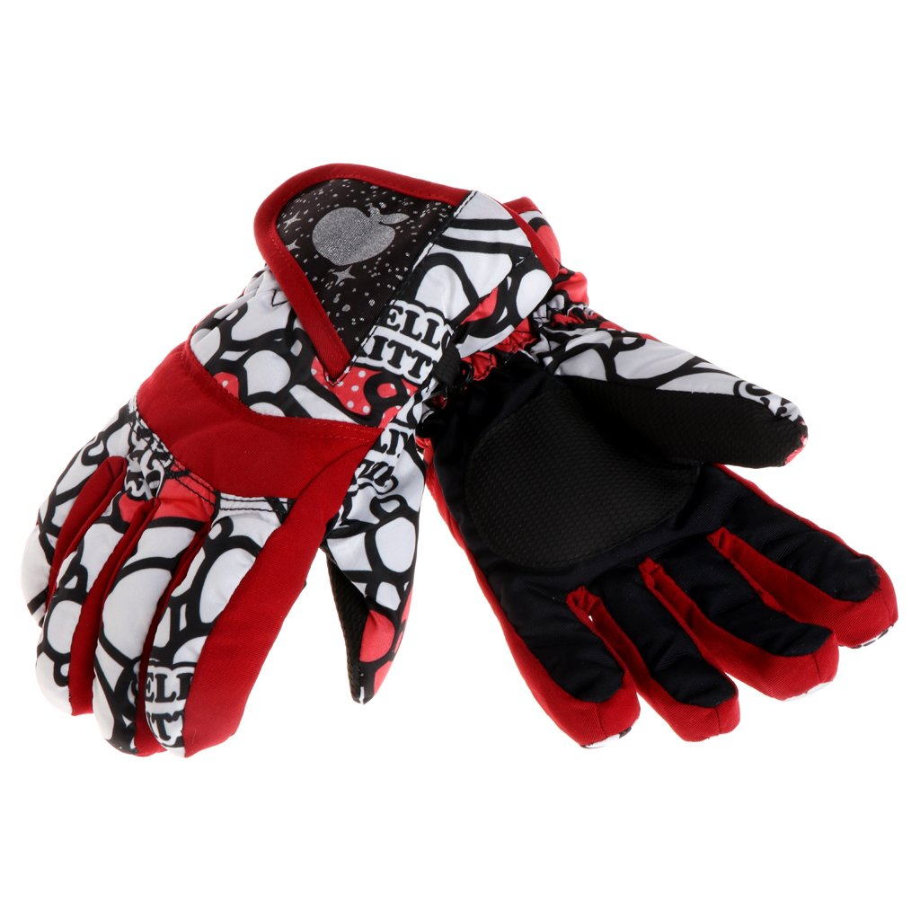 ULKEME Winter Boys Girls Kids Windproof Outdoor Ski Snowboard Thick Warm Finger Gloves (L, red)