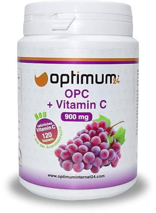 Premium OPC hochdosiert mit natürlichem Vitamin C | 450 mg reinem echtem OPC und 40 mg Vitamin C | Hergestellt in Deutschland