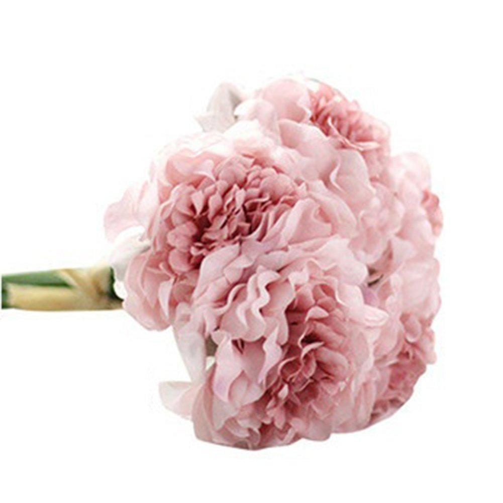 zbtrade 造花 5本 牡丹の花 ブライダル アジサイ ホーム ガーデン オフィス パーティー ウェディング 装飾 写真小道具 ピンク 99536I0W1MY486B7 B07MFYF7HL ホットピンク