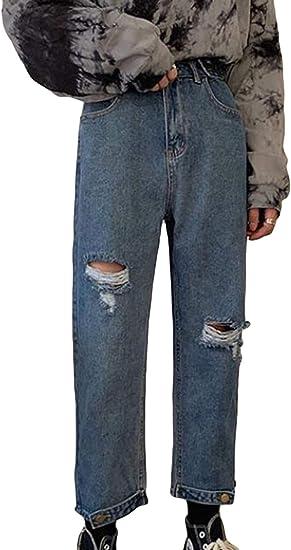 (BaLuoTe)メンズ ジーンズ 九分丈 夏 カーゴ裾 不規則 ストレッチパンツ メンズ デニムパンツ ハレムパンツ 無地 コンフォート ダメージ加工 オフィス 通勤 メンズ ジーンズ ゴロツキ