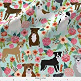 quilting fabric on sale - Pitbull Fabric Pitbull Pitbull Terriers Cute Dogs Dog Sweet Animals Florals Mint Dog Pets by Petfriendly Printed on Basic Cotton Ultra Fabric by the Yard by Spoonflower