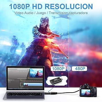 DIWUER Capturadora de Video HDMI, 4K HDMI a USB 2.0 Convertidor Video Audio, HDMI Vídeo Game Capture 1080P 30FPS para Edite Video/Juego/Transmisión/Enseñanza en línea: Amazon.es: Electrónica