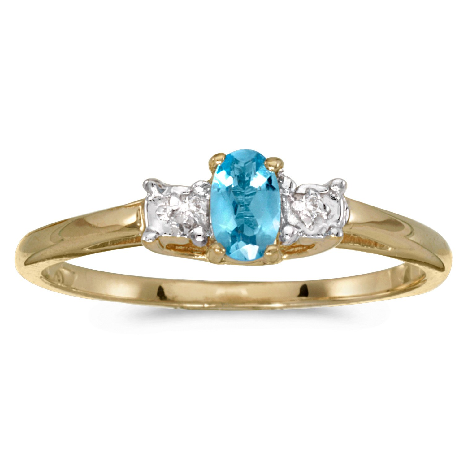 Jewels By Lux 14k Yellow Gold Genuine Blue Birthstone Solitaire Oval Blue Topaz And Diamond Wedding Engagement Ring - Size 7.5 (1/5 Cttw.)