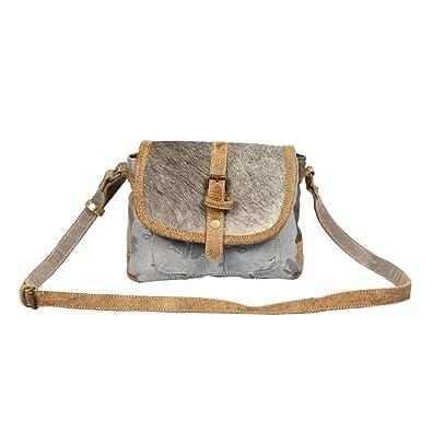 Amazon.com: Myra Bag Ashen - Bolsa de lona y piel de vaca S ...