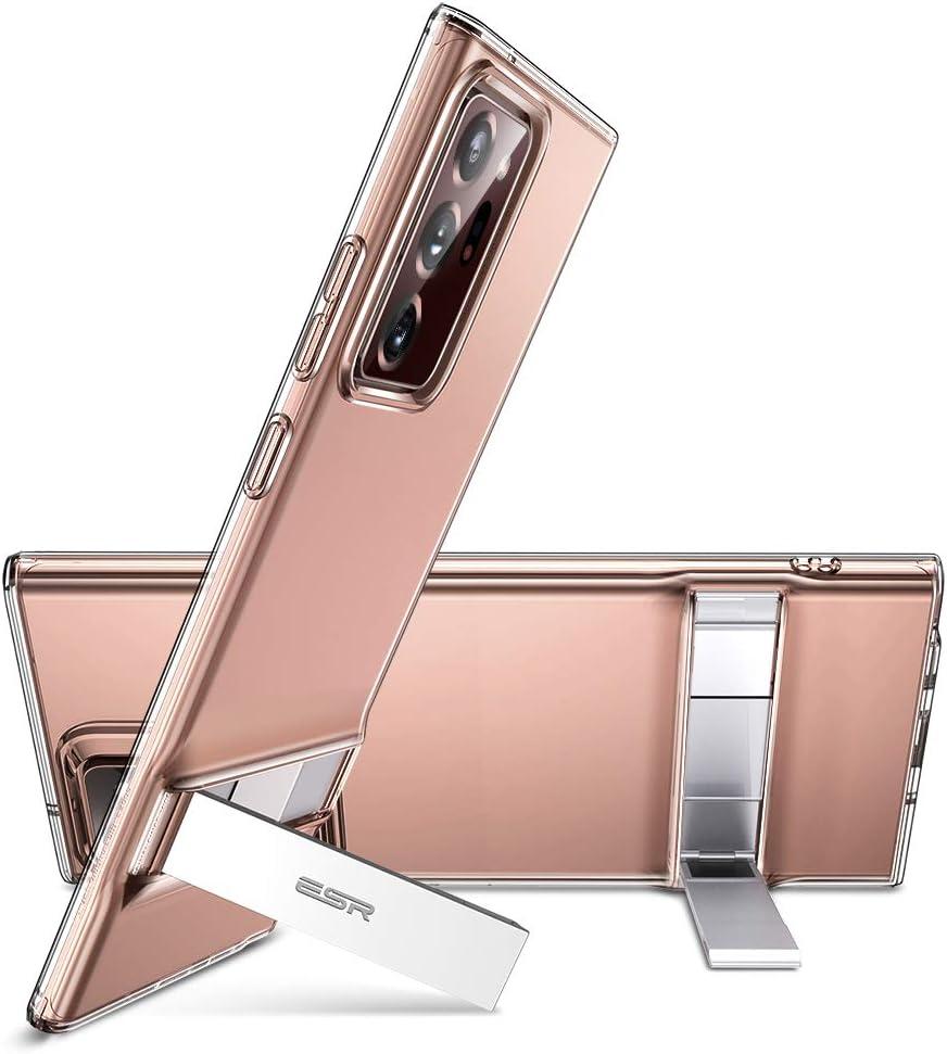 ESR Funda Metal Kickstand para Samsung Note 20 Ultra 5G 2020[Soporte Vertical y Horizontal] [Protección Reforzada contra Caídas] Funda para Samsung Galaxy Note 20 Ultra 5G[Transparente]