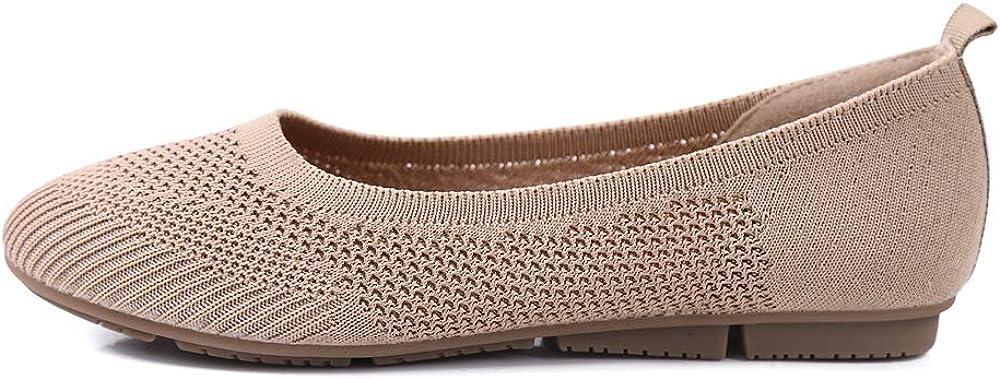 Sorliva Chaussures /à enfiler respirantes pour femme Chaussures compens/ées en tricot d/écontract/ées et confortables /à bout rond l/ég/ères et plates