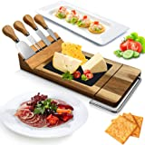 Nutrichef Slicing Bamboo Cheese Board Platter-4 Stainless Steel Knives and Magnet Holder-Modern Wood Snack Serving Tray…