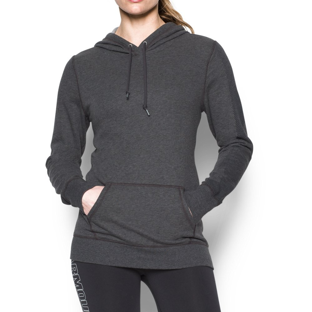 Under Armour Women's Favorite French Terry Popover, Carbon Heather/Black, Large