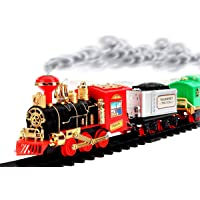 TOYMANIA Amazing Musical Classical Toy Train Track Set for Kids. | with Real Smoke Effect, Train Sound and Colorful Light Effects. | Vintage Looks. (RED Color)