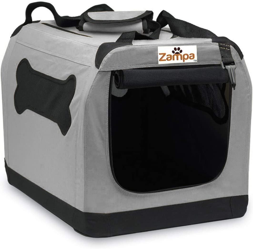 Zampa Pet Portable Crate – Great for Travel, Home and Outdoor – for Dog's, Cat's and Puppies – Comes with A Carrying Case