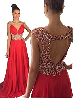 Fanciest Womens Beaded V Neck Prom Dresses 2016 Long Evening Gowns