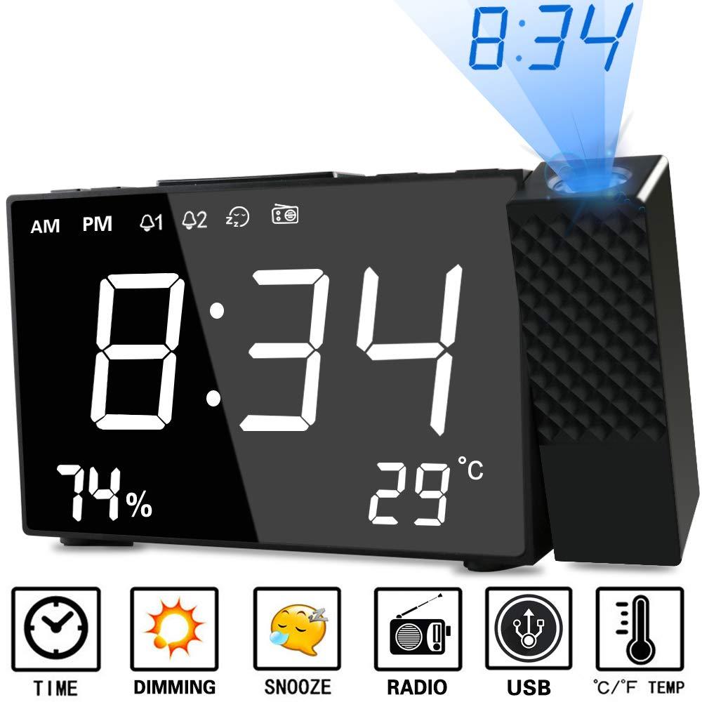 Despertador Proyector, Abwei Radio Despertador Digital Proyección Relojes de Alarma con Alarma Dual Humedad Temperatura Snooze Carga USB Alarma de ...