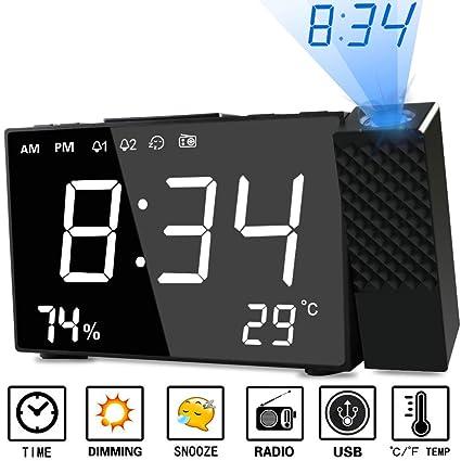 Despertador Proyector, Abwei Radio Despertador Digital Proyección Relojes de Alarma con Alarma Dual Humedad Temperatura