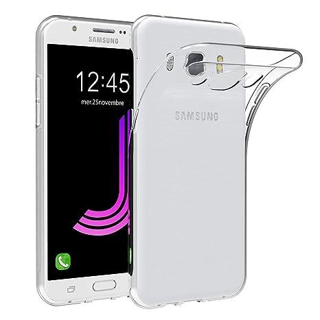 Funda Coovertify Ultra Clear Carcasa Transparente de Tpu Gel Silicona Flexible y Ligera + Protector de Cristal Templado para Samsung J7 2016 (J710)