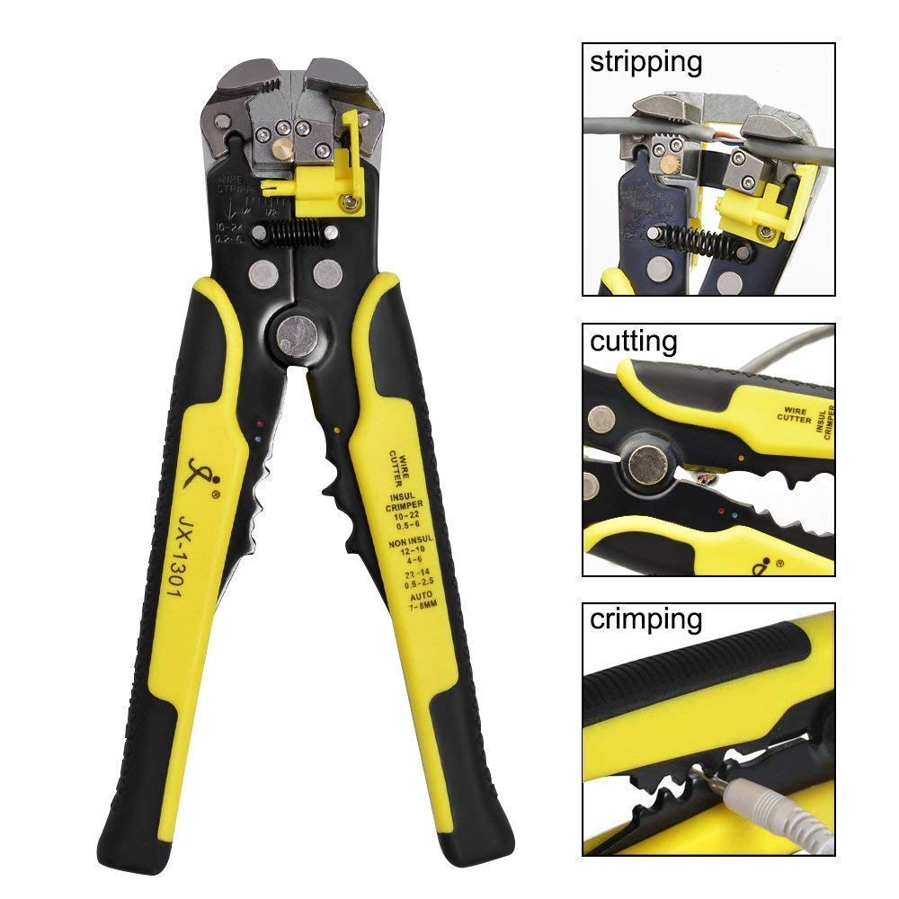 Wire Stripper by Highgradelife, 8 inch Self-adjusting Cable Cutter Crimper Automatic Wire Stripping Tool Cutting Pliers Tool for Industry 10-24 AWG, 3 in 1 Stripping Cutting and Crimping Tools