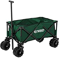ENKEEO Folding Wagon Collapsible Sports Outdoor Cart Utility Garden Cart with Large Capacity and Tilting Handle for Camping Beach Sporting Events Concerts Shopping