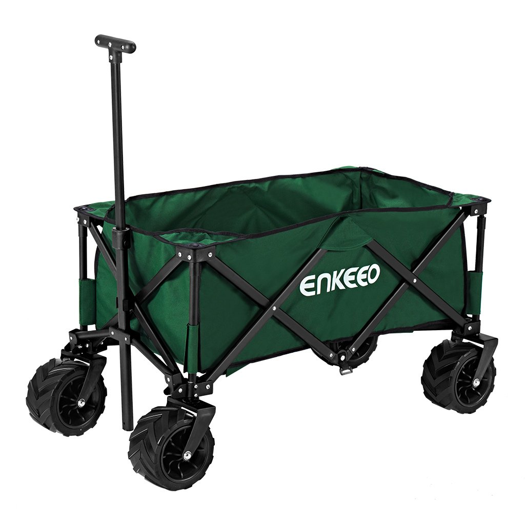 ENKEEO Foldable Utility Wagon Collapsible Sports Outdoor Cart with Large Capacity and Tilting Handle for Camping Beach Sporting Events Concerts, Green