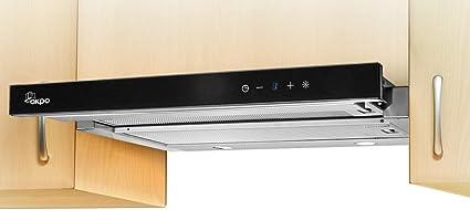 Campana akpo WK de 7 Light Glass Touch inox negro/50 cm/220 m3/h – Campana – Plano extractora: Amazon.es: Grandes electrodomésticos