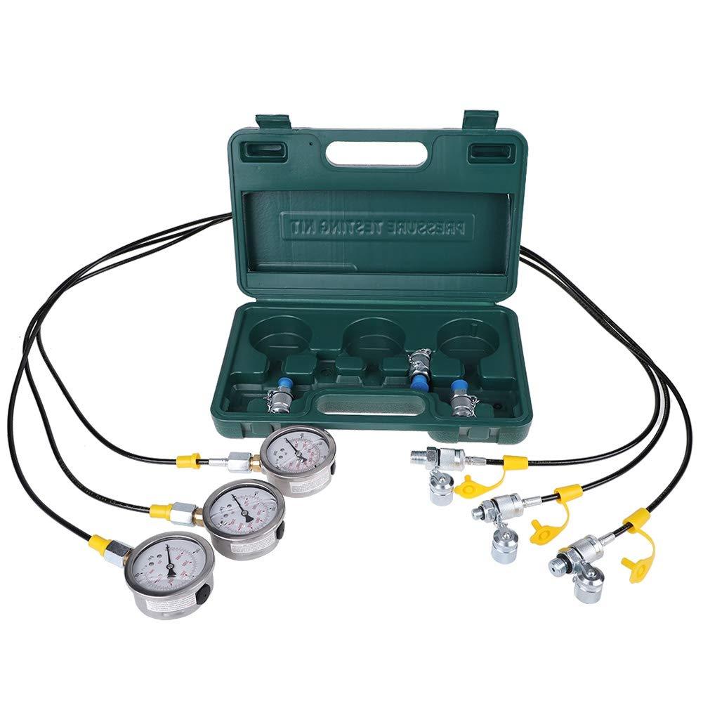 6 connettori di prova Kit di test di pressione idraulica per escavatore con 3 manometro 3 tubi di prova