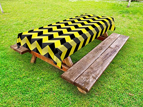 Ambesonne Yellow Chevron Outdoor Tablecloth, Black and Yellow Chevron Pattern Danger Hazard Warning Sign Stripes Zigzag, Decorative Washable Picnic Table Cloth, 58 X 84 inches, Black Yellow