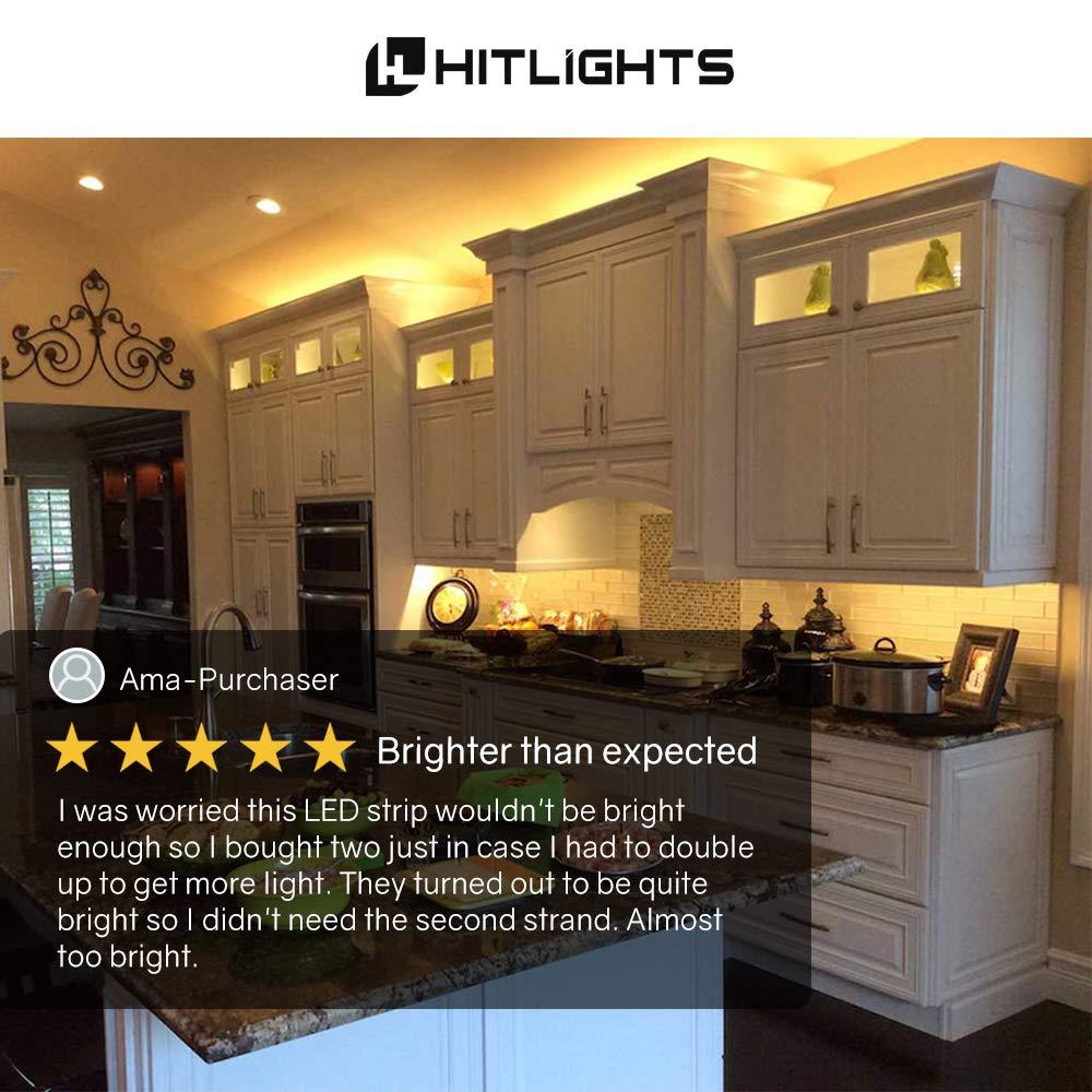 Hitlights Warm White Led Light Strip Premium High Brighter Lighting With Multiple Leds Density 3528 164 Feet 600 3000k Lumens Per Foot Ul Listed 12v Dc Tape