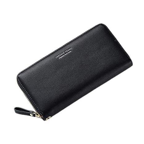 Wristband Women Long Clutch Wallet Phone Pocket Card Holder Carteras Black