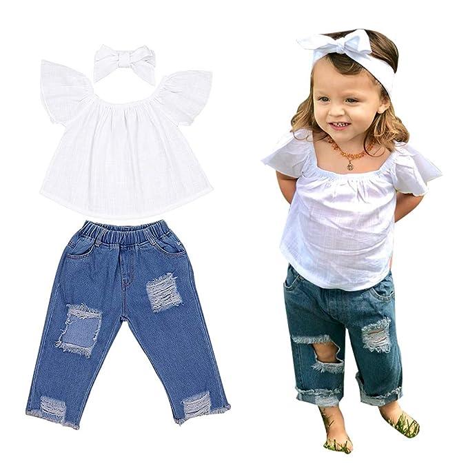 156b63db70af03 Image Unavailable. Image not available for. Color  Little Girl Clothes 3pcs  Baby Girl Kids Off Shoulder Lotus Leaf Top Holes Denim Jeans Headband