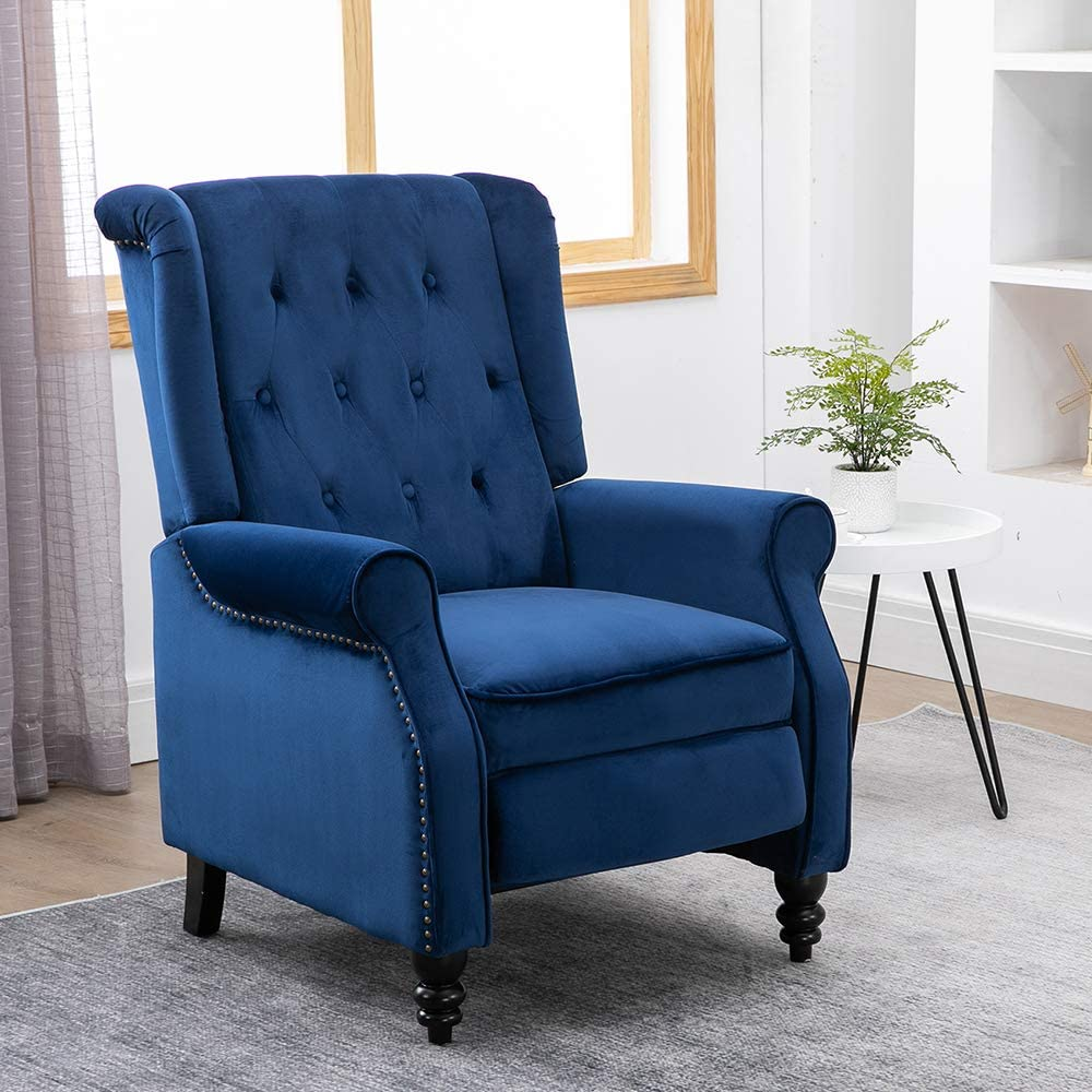 Amazon.com: HomeSailing Single Living Room Recliner Chair Navy Blue With Footrest Vintage Wing Back Armchair Velvet Bedroom Adjustable Push Back Reclining Chairs Sofa Chair Fabric Upholstered: Kitchen & Dining