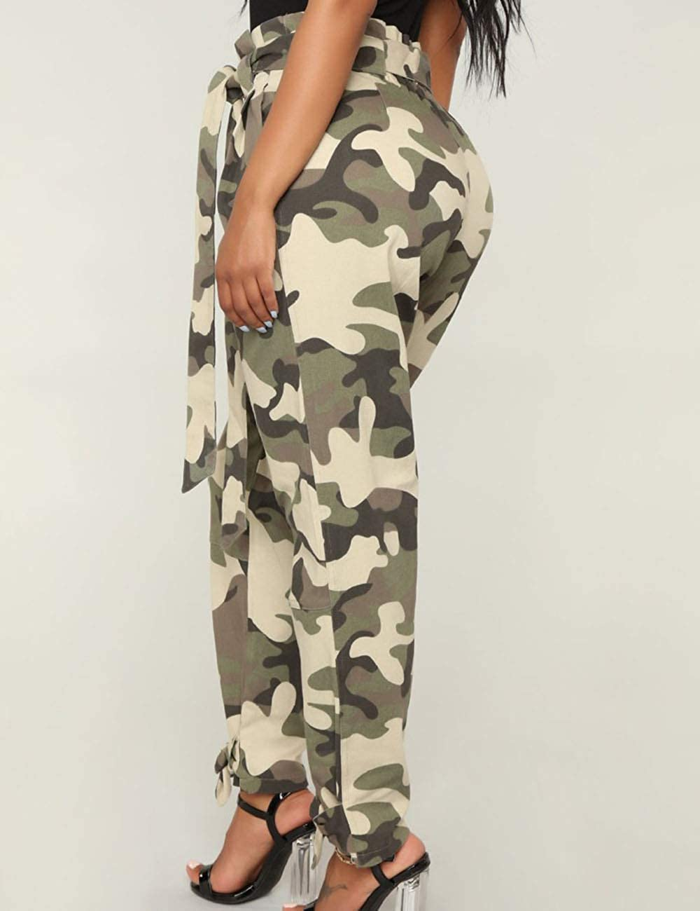 Womens Loose Camouflage Hip Hop Harem Cargo Pants 5XXL Belted Casual Camo Swaggy Leggings Pantsuits NO Belt