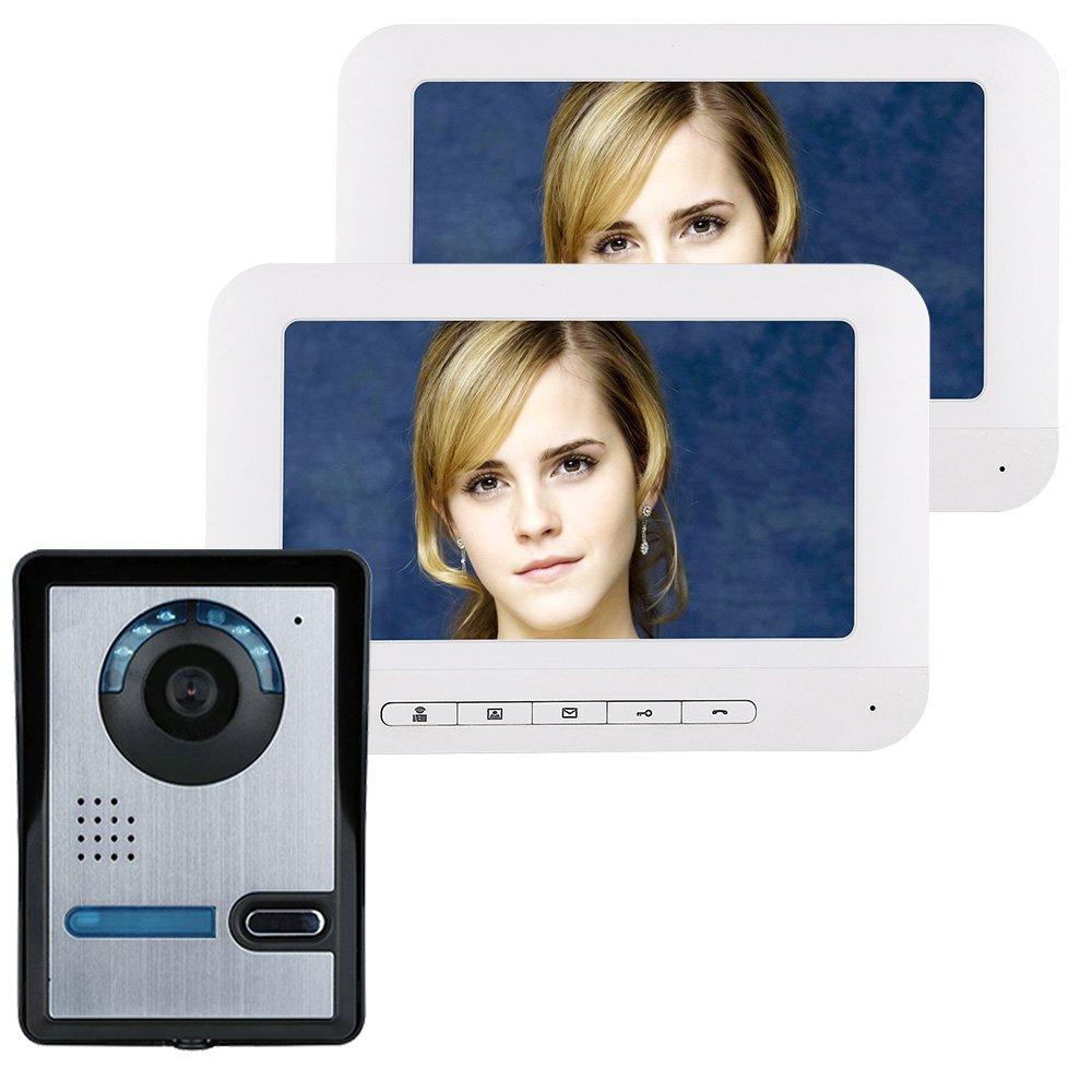 TONGTONG Video-Türklingel, WiFi Smart Doorbell Video Phone Doorbell Intercom Kit 1-Kamera 2-Monitor Mit IR Night Vision Features, Geeignet Für Familienvillen