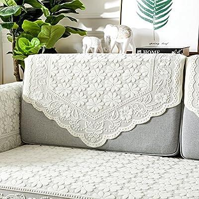 MSM Cordón Funda para sofá, Color sólido Blanco Paño Simple Protector de Muebles, Multi-Size Toalla de sofá Protector para sofás, 1 Pieza-G 90x220cm