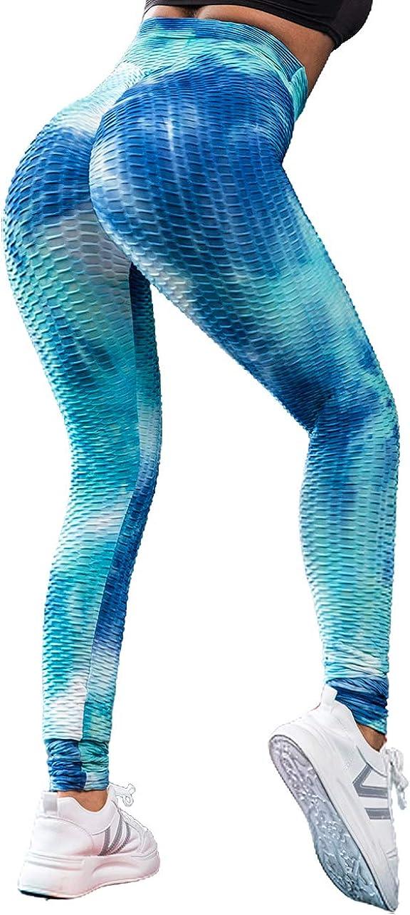 Voqeen Mujer Pantalones de Yoga con Efecto Tie Dye con Textura de Panal Leggings Fruncidos con Pliegues de Levantamiento de Glúteos de Cintura Alta Medias de Botín Leggings Deportivos de Gimnasio