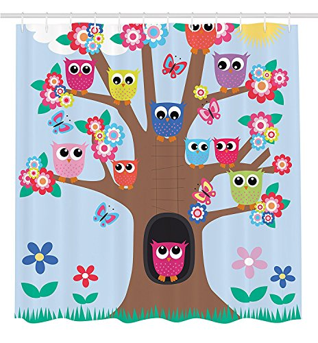 Owl Decor Cute Owls on Tree BFF Best Friends Forever Home Accent Design for Friendship Decor for Teens and Girls Bathroom Polyester Fabric Shower Curtain Brown Green Blue Yellow (Bff Halloween Costume Ideas)