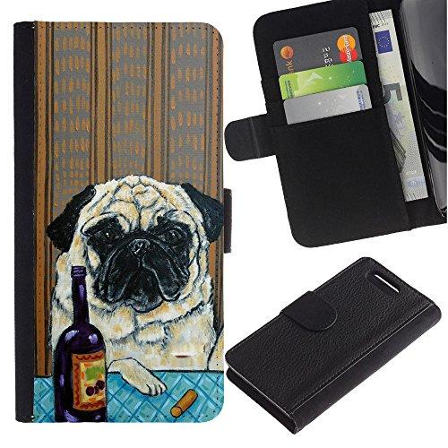 LASTONE PHONE CASE / Lujo Billetera de Cuero Caso del tirón Titular de la tarjeta Flip Carcasa Funda para Sony Xperia Z1 Compact D5503 / Pug Art Wrinkles Painting Wine Dog