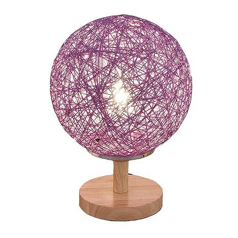 SUN HUIJIE Lámparas de Mesa de ratán Creativas, nórdico LED Base ...