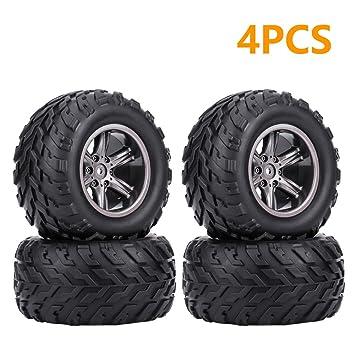 Dilwe Conjunto de 2/4 TPR Neumático y Cubo de Rueda para 1/12 RC Coche Crawler, 4Pcs: Amazon.es: Deportes y aire libre