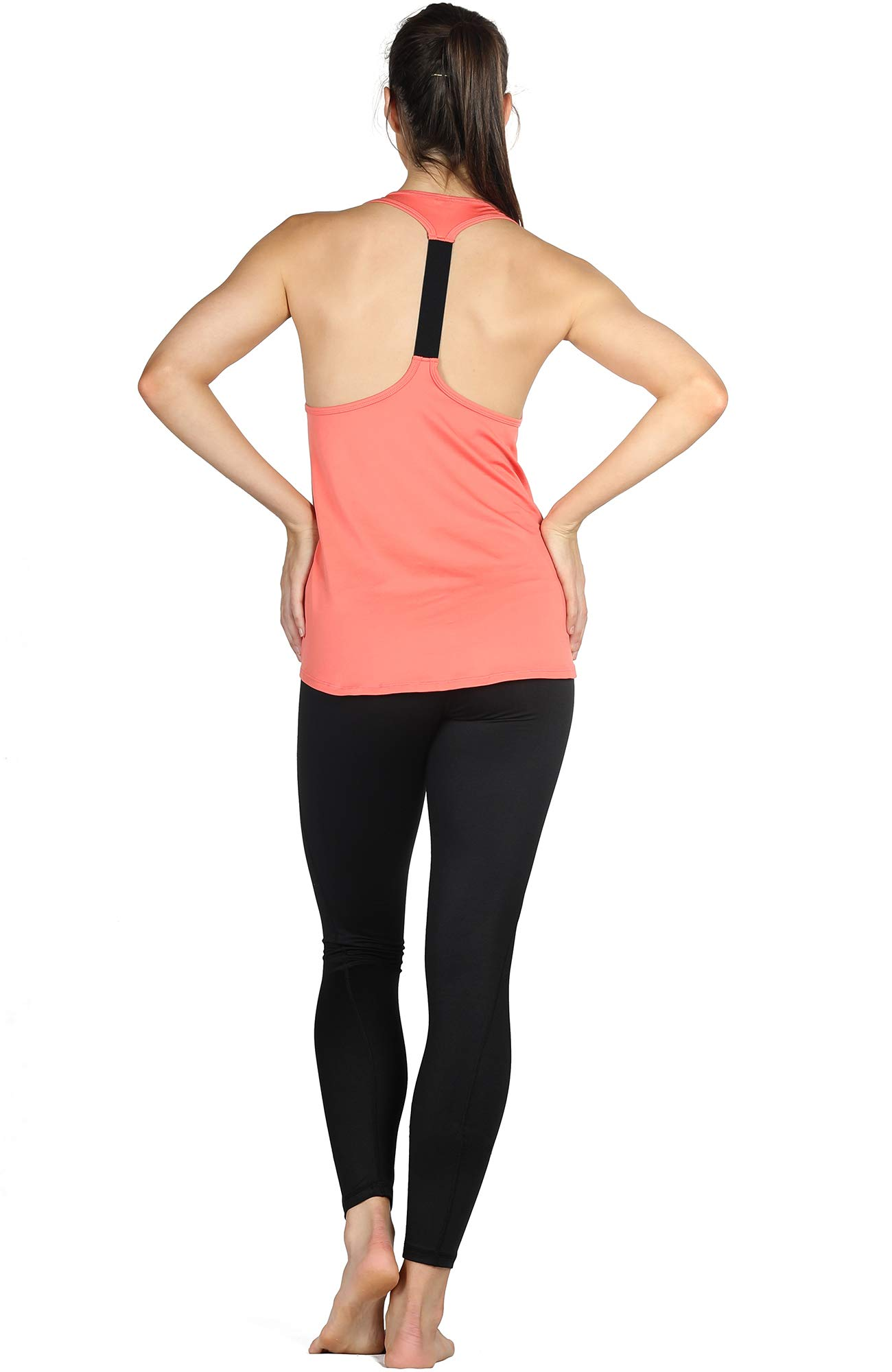icyZone Activewear Workout Yoga Fitness Sports Racerback Tank Top T-Back Women (L, Fusion Coral)