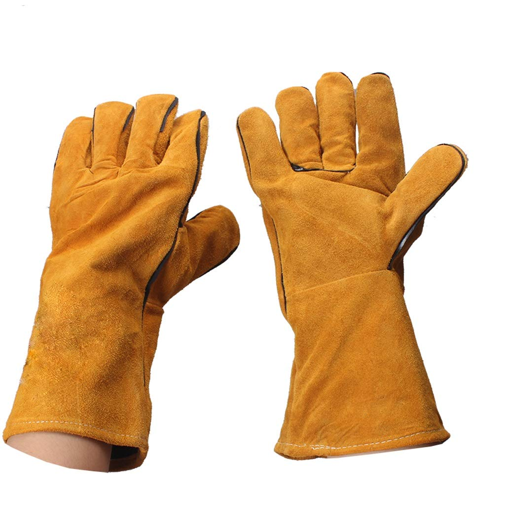 LZRZBH Welding Gloves Long Leather Gauntlets Heat Resistant Lined Welders Gauntlet High Temperature Stove Long Lined Perfect for Fireplace Stove Gardening (Color : C)