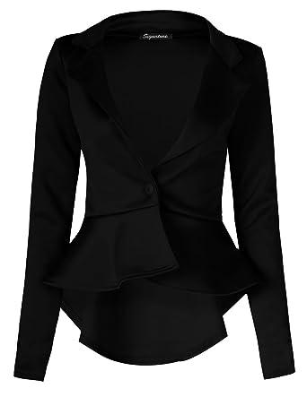 56861106b0f6 Fast Fashion Damen Mit Langen Ärmeln Rüschen Verschieben Ausgestattet  Unteren Rücken Peplum Blazer (36