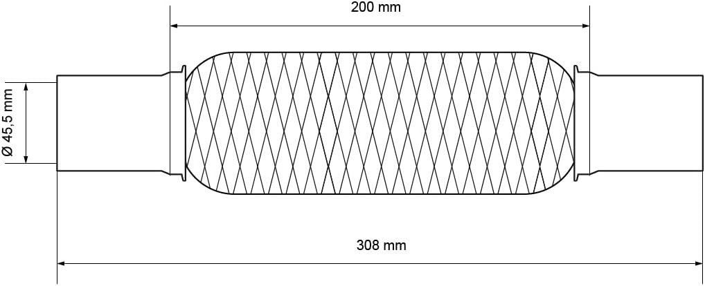 ABGASANLAGE FLEXROHR HOSENROHR FLEXIBLES ROHR EDELSTAHL Ø 45 mm LÄNGE 322 mm