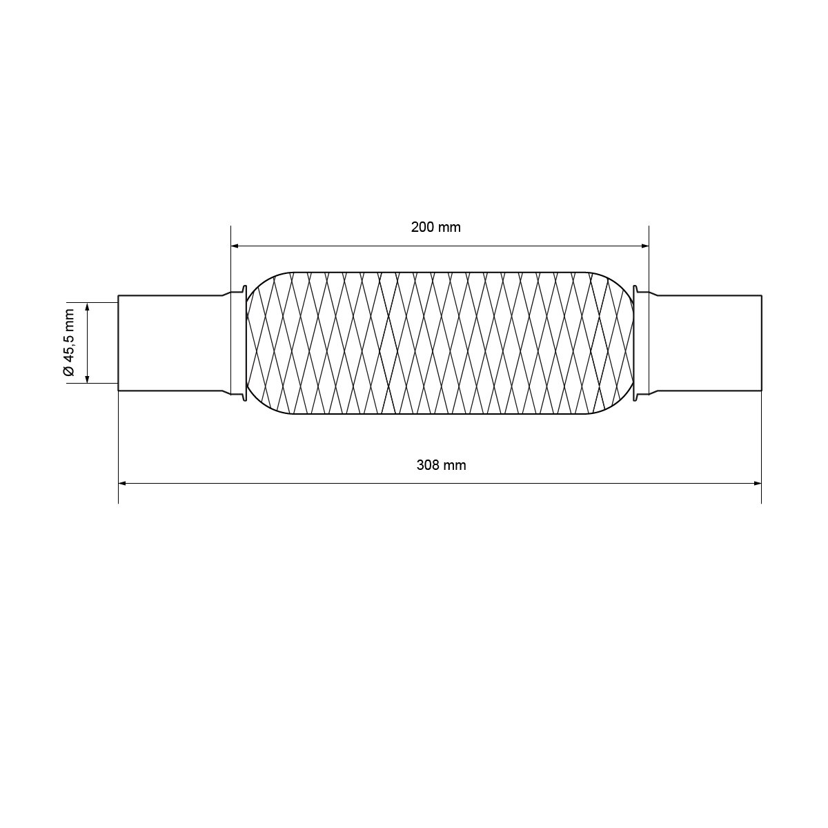 Auspuff-Montagepaste 60g Universal Flexrohr Interlock 55 x 200 mm flexibles Rohr mit 2 Schellen Flexst/ück Wellrohr Hosenrohr Auspuff Abgasanlage aus Edelstahl Montage ohne Schwei/ßen