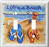 FLIP FLOPS SEASHELLS LIFE IS A BEACH WEATHERED LIGHT SWITCH COVER PLATE OR OUTLET (2x Toggle)
