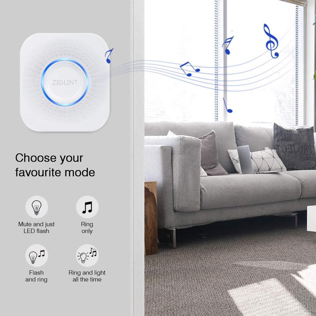 ZIGLINT Wireless Doorbell, No Batteries Required, IP55 Waterproof Door Bell Operating at over 500-feet Range, Door Chime Kit with 2 Receivers, 58 Chimes and 4 Adjustable Volume Levels, White by ZIGLINT (Image #5)