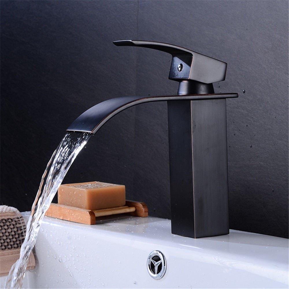 AQiMM Waschtischarmatur Wasserhahn Waschbecken Retro-Copper Schwarz Heißes Und Kaltes Wasser Badezimmer Mischbatterie