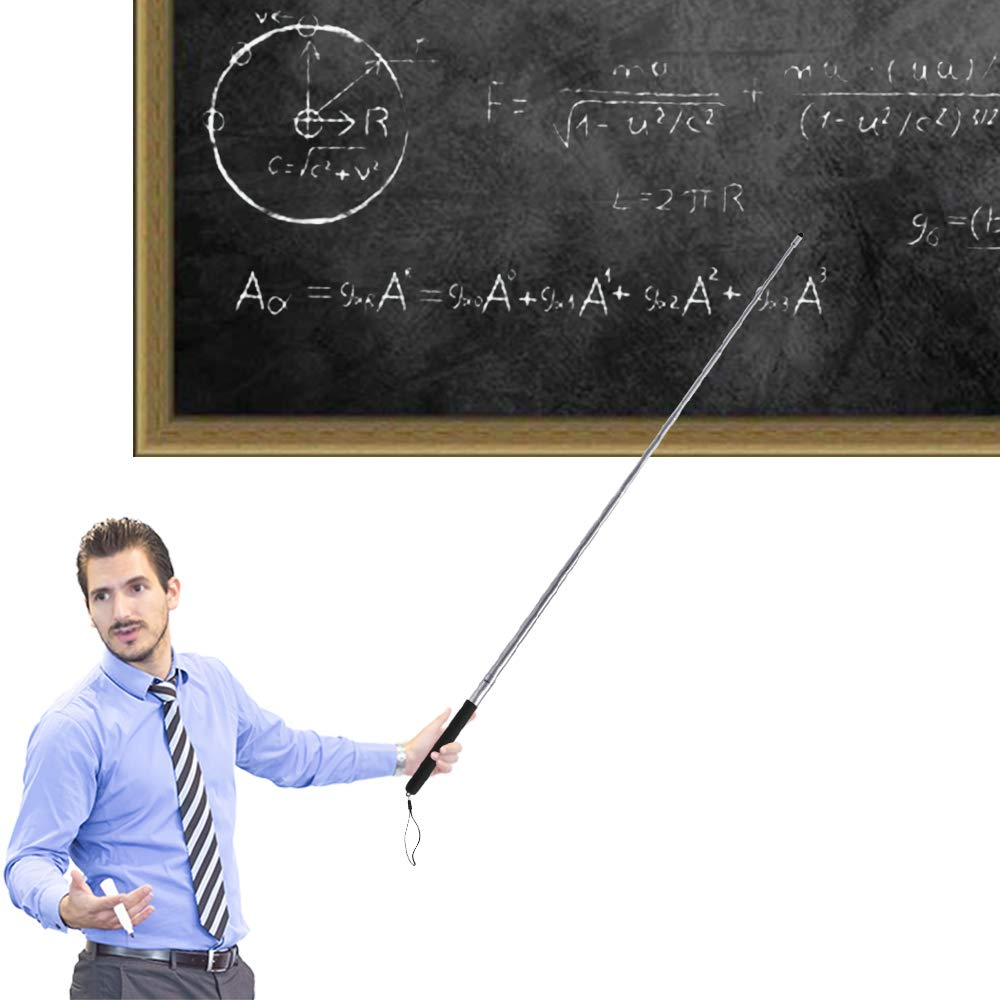 Teachers Pointer Stick, Telescopic Teaching Pointer, Retractable Classroom Whiteboard Pointer Extendable for Teachers, Guides, Coach with A Lanyard-Extends to 47.2''